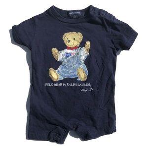 Ralph Lauren Navy Teddy Polo Bear Romper Playsuit